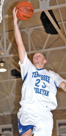 Matt Harper goes for a layup last night against Virginia Intermont