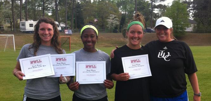 Hickman, Barganier, Walsh, and Dungee (not pictured) were all honored with Conference Awards