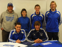 Matt with Coach Lyons, his parents, brother Zack and Coach Blankley