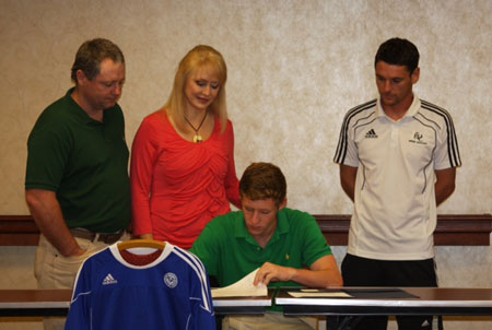 Pictured with Austin are his parents Bran and Karen Kenney along with TWC Coach Stephen Lyons